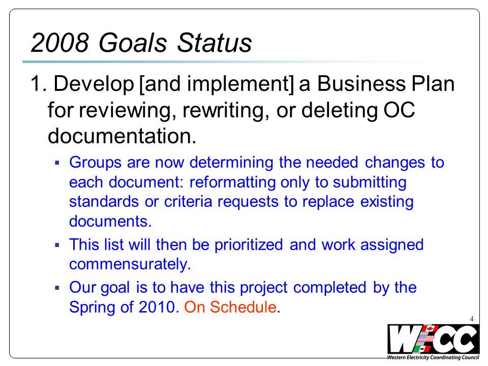4 2008 Goals Status 1.