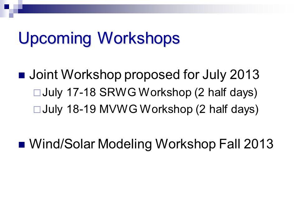 Upcoming Workshops Joint Workshop proposed for July 2013 July 17-18 SRWG Workshop (2 half days) July 18-19 MVWG Workshop (2 half days) Wind/Solar Modeling Workshop Fall 2013