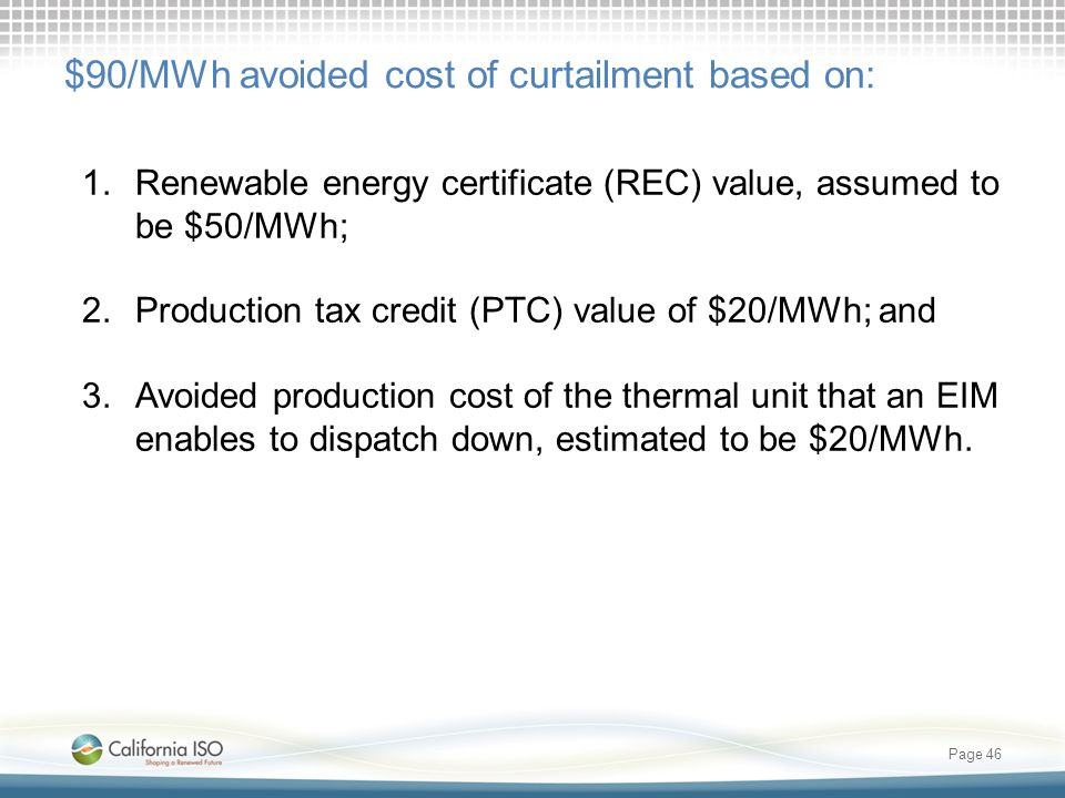 Page 46 $90/MWh avoided cost of curtailment based on: 1.Renewable energy certificate (REC) value, assumed to be $50/MWh; 2.Production tax credit (PTC)