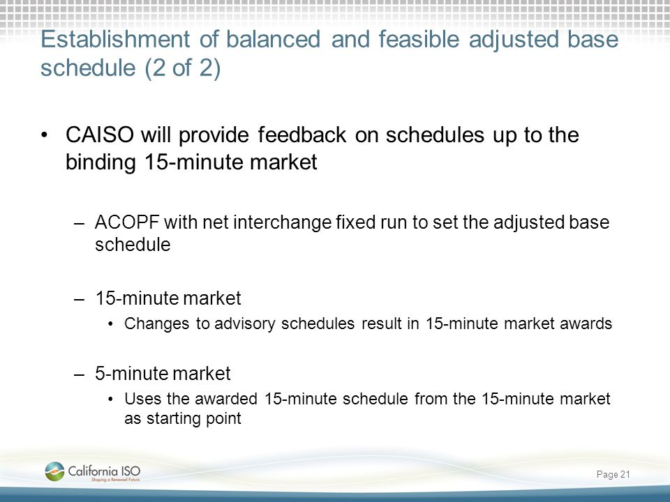 Establishment of balanced and feasible adjusted base schedule (2 of 2) CAISO will provide feedback on schedules up to the binding 15-minute market –AC