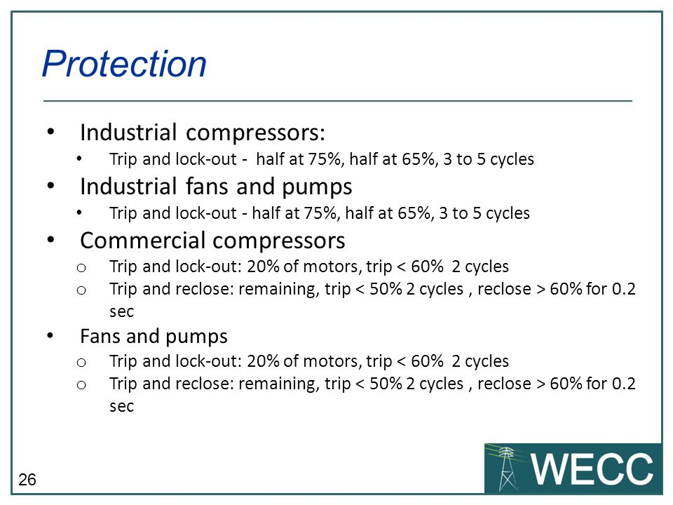 26 Industrial compressors: Trip and lock-out - half at 75%, half at 65%, 3 to 5 cycles Industrial fans and pumps Trip and lock-out - half at 75%, half