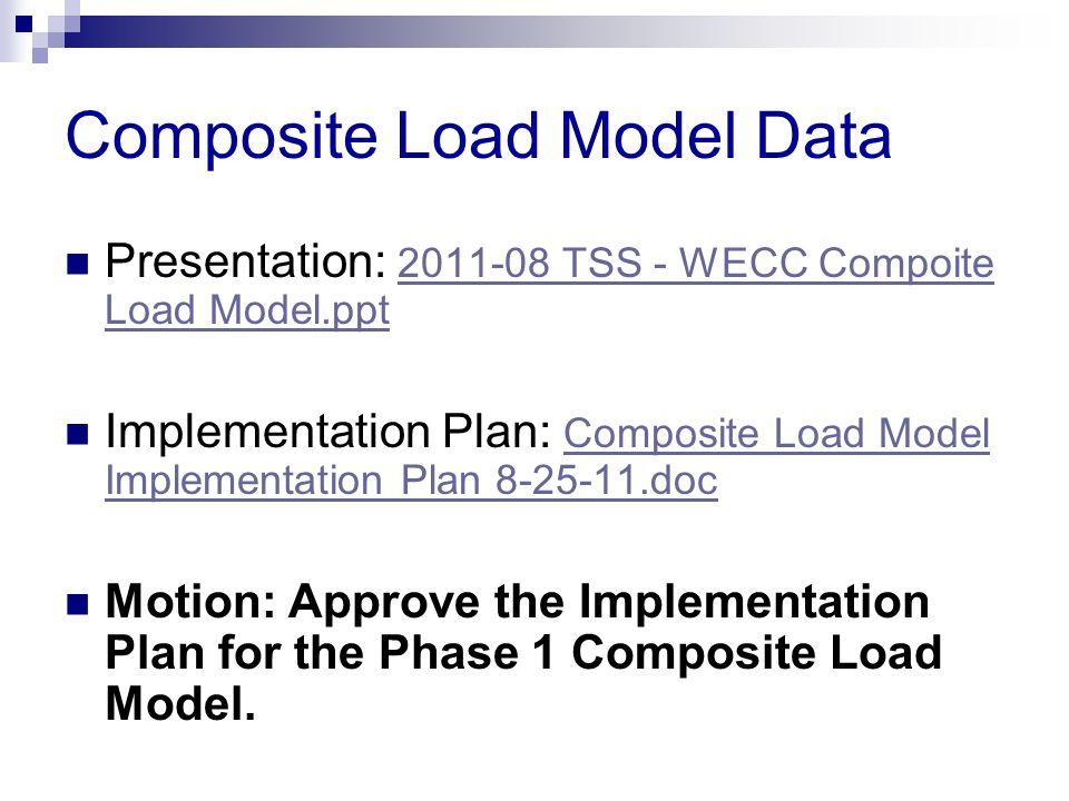 Composite Load Model Data Presentation: 2011-08 TSS - WECC Compoite Load Model.ppt 2011-08 TSS - WECC Compoite Load Model.ppt Implementation Plan: Com