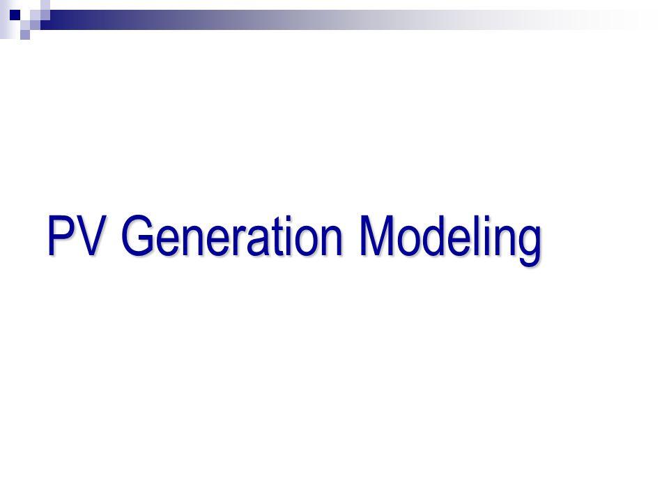 PV Generation Modeling