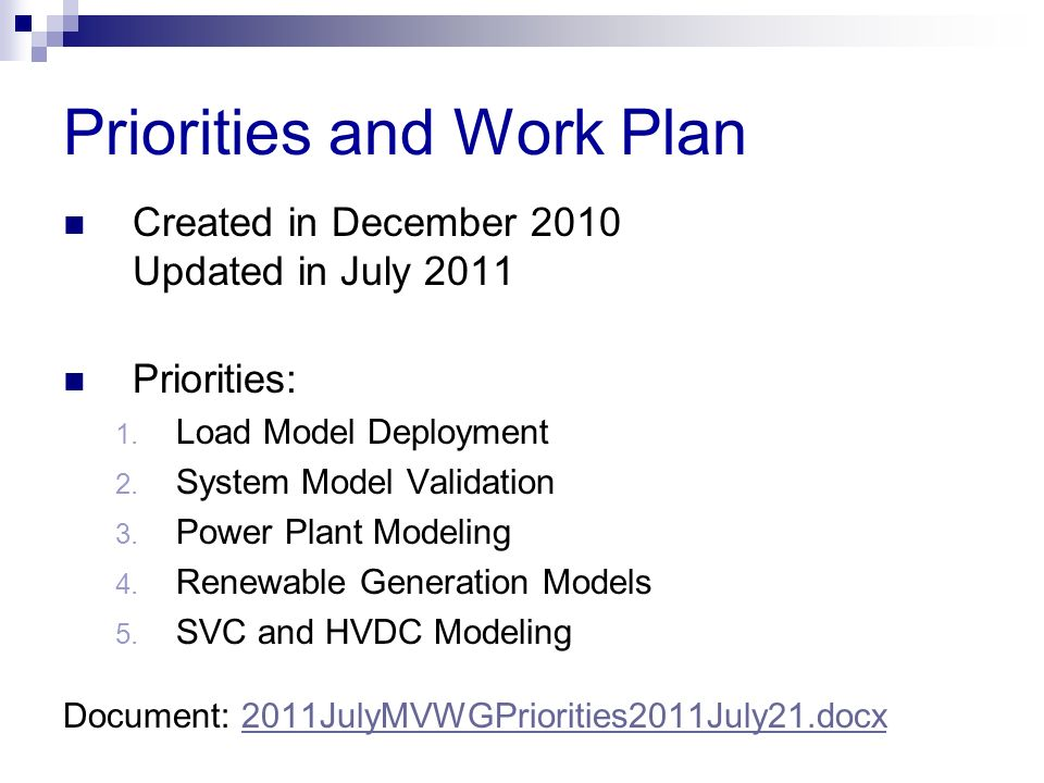 Priorities and Work Plan Created in December 2010 Updated in July 2011 Priorities: 1. Load Model Deployment 2. System Model Validation 3. Power Plant