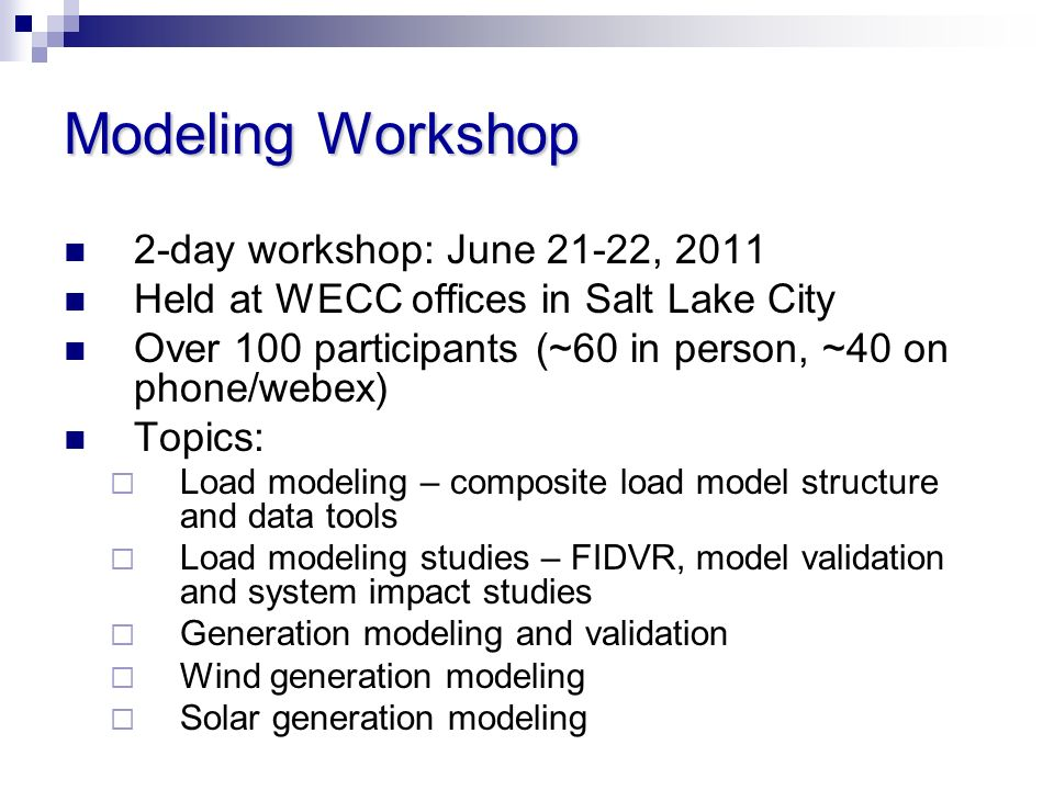 2-day workshop: June 21-22, 2011 Held at WECC offices in Salt Lake City Over 100 participants (~60 in person, ~40 on phone/webex) Topics: Load modelin