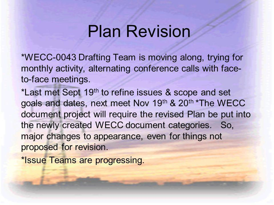 Plan Revision *WECC-0043 Drafting Team is moving along, trying for monthly activity, alternating conference calls with face- to-face meetings.