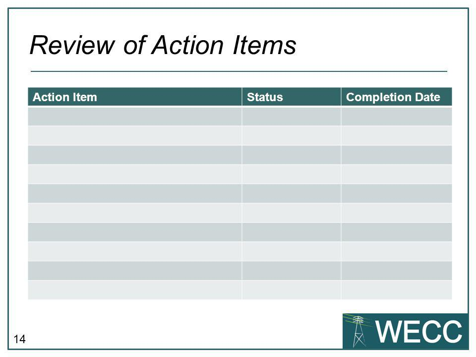 14 Review of Action Items Action ItemStatusCompletion Date