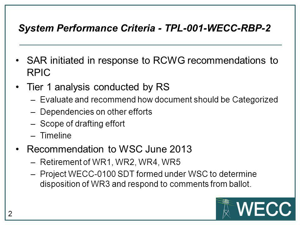 2 SAR initiated in response to RCWG recommendations to RPIC Tier 1 analysis conducted by RS –Evaluate and recommend how document should be Categorized