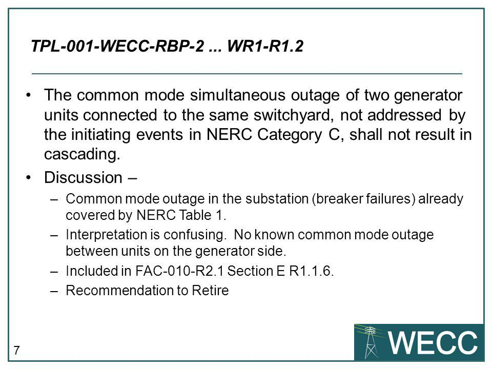 7 The common mode simultaneous outage of two generator units connected to the same switchyard, not addressed by the initiating events in NERC Category