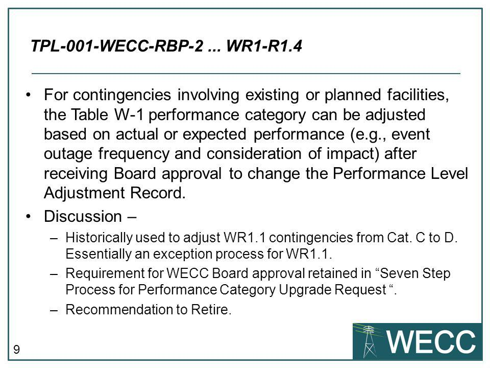 9 For contingencies involving existing or planned facilities, the Table W-1 performance category can be adjusted based on actual or expected performan