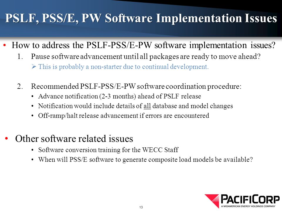How to address the PSLF-PSS/E-PW software implementation issues.