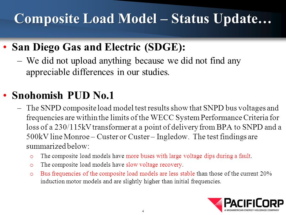 San Diego Gas and Electric (SDGE): –We did not upload anything because we did not find any appreciable differences in our studies.