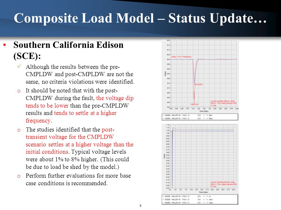 Southern California Edison (SCE): Although the results between the pre- CMPLDW and post-CMPLDW are not the same, no criteria violations were identified.
