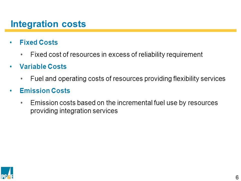 5 Steps in Estimating Resource Requirements Reliability Requirement Operating Flexibility Requirement Forecast Peak Load Renewable Reliability Contribution (NQC) Planning Reserve Margin Renewable Hourly Generation Operating Flexibility Hourly Requirement Projected Hourly Load Residual Reliability Requirement MW Additional Capacity Required for integration Residual Operating Flexibility Requirement Forecast Peak Load + Planning Reserve Margin – Reliability Contribution of Renewables (NQC) Reliability Requirement Hourly Load + Hourly Operating Flexibility Services – Hourly renewable generation Operating Flexibility Requirement