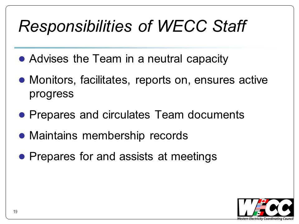 Responsibilities of WECC Staff Advises the Team in a neutral capacity Monitors, facilitates, reports on, ensures active progress Prepares and circulat