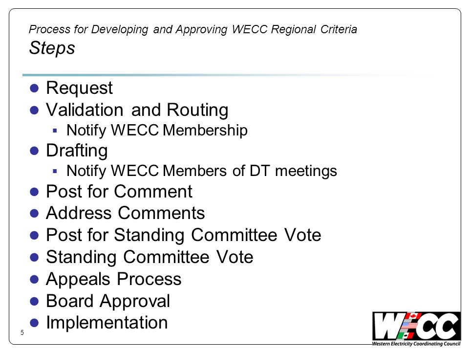 Process for Developing and Approving WECC Regional Criteria Steps Request Validation and Routing Notify WECC Membership Drafting Notify WECC Members o