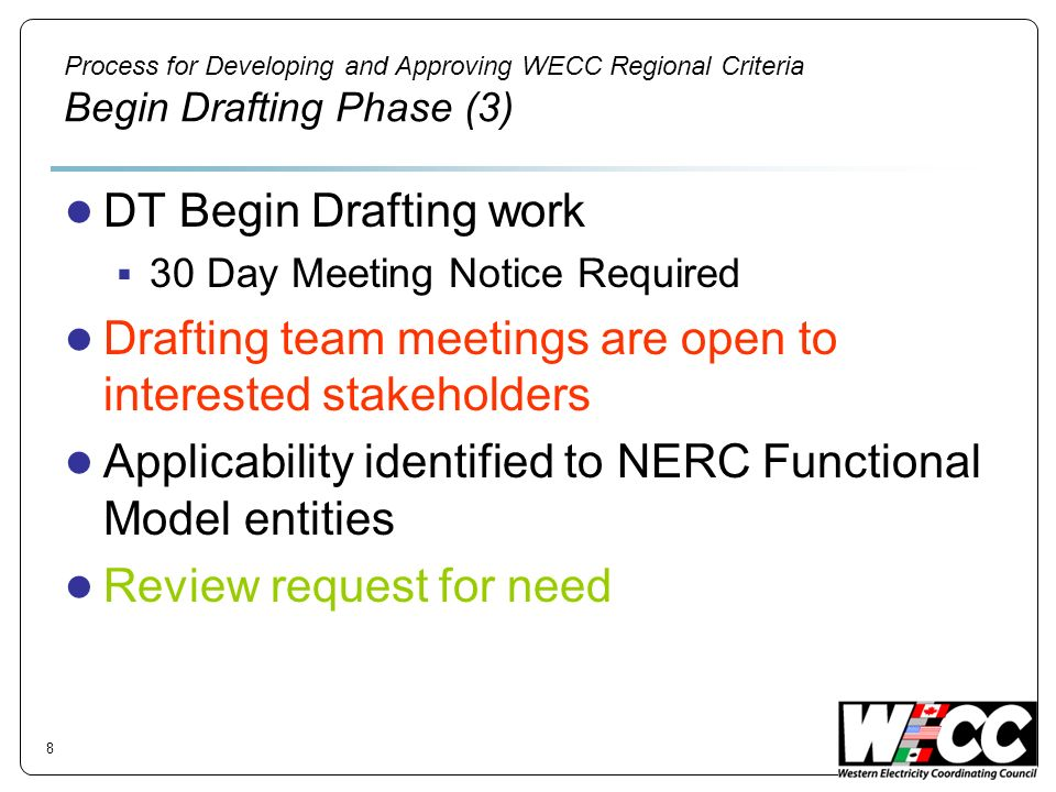 Process for Developing and Approving WECC Regional Criteria Begin Drafting Phase (3) DT Begin Drafting work 30 Day Meeting Notice Required Drafting te
