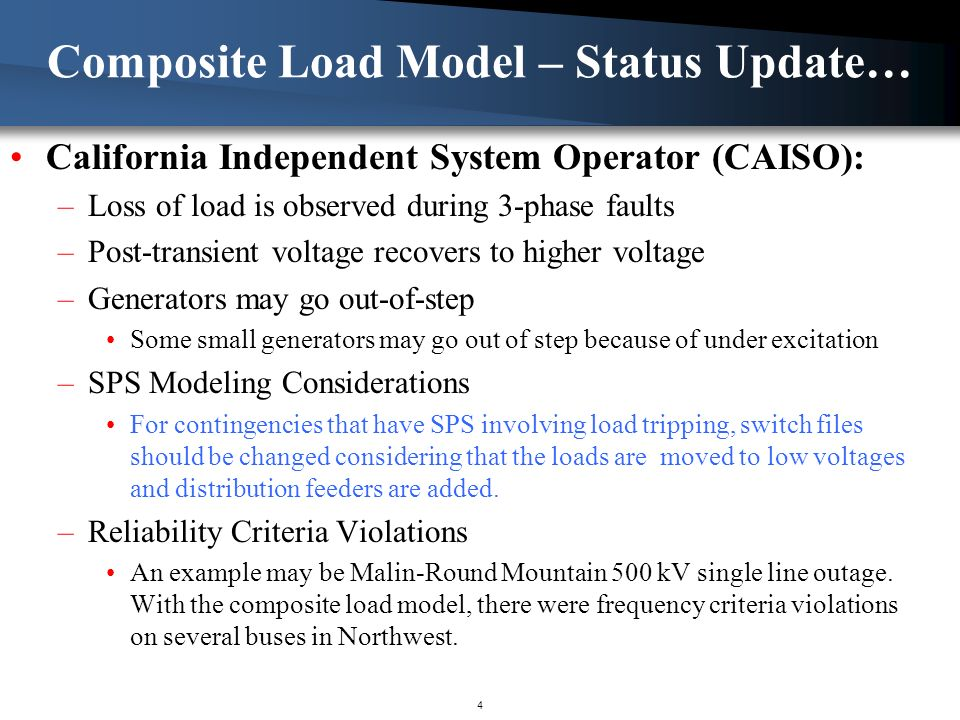 Composite Load Model – Status Update… California Independent System Operator (CAISO): –Loss of load is observed during 3-phase faults –Post-transient voltage recovers to higher voltage –Generators may go out-of-step Some small generators may go out of step because of under excitation –SPS Modeling Considerations For contingencies that have SPS involving load tripping, switch files should be changed considering that the loads are moved to low voltages and distribution feeders are added.