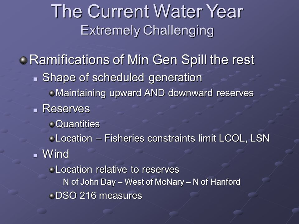 The Current Water Year Extremely Challenging Ramifications of Min Gen Spill the rest Shape of scheduled generation Shape of scheduled generation Maint