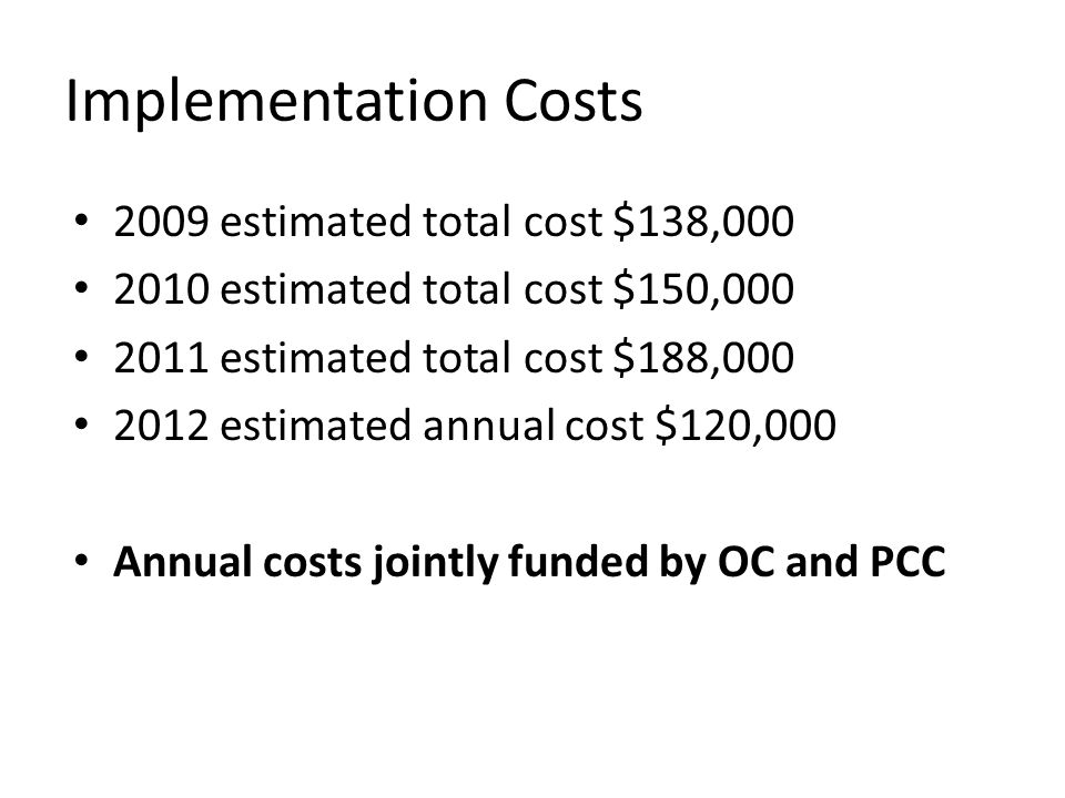 Implementation Costs 2009 estimated total cost $138,000 2010 estimated total cost $150,000 2011 estimated total cost $188,000 2012 estimated annual co