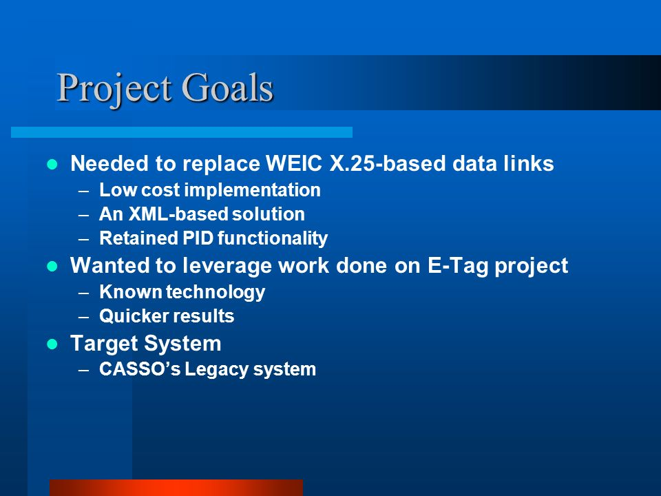 Project Goals Needed to replace WEIC X.25-based data links –Low cost implementation –An XML-based solution –Retained PID functionality Wanted to leverage work done on E-Tag project –Known technology –Quicker results Target System –CASSOs Legacy system