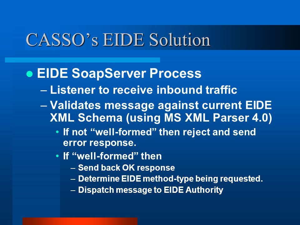 CASSOs EIDE Solution EIDE SoapServer Process –Listener to receive inbound traffic –Validates message against current EIDE XML Schema (using MS XML Parser 4.0) If not well-formed then reject and send error response.
