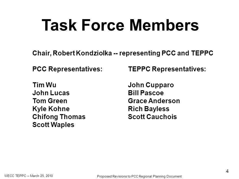 WECC TEPPC – March 25, 2010 Proposed Revisions to PCC Regional Planning Document 4 Task Force Members Chair, Robert Kondziolka -- representing PCC and TEPPC PCC Representatives:TEPPC Representatives: Tim WuJohn Cupparo John LucasBill Pascoe Tom GreenGrace Anderson Kyle KohneRich Bayless Chifong ThomasScott Cauchois Scott Waples