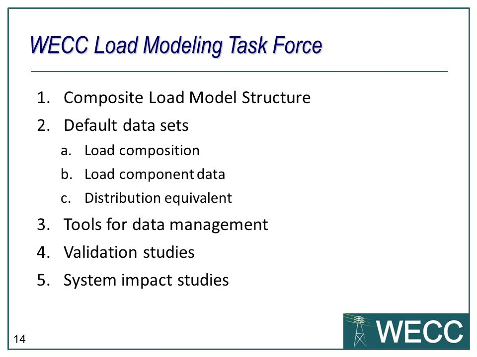 14 1.Composite Load Model Structure 2.Default data sets a.Load composition b.Load component data c.Distribution equivalent 3.Tools for data management 4.Validation studies 5.System impact studies WECC Load Modeling Task Force