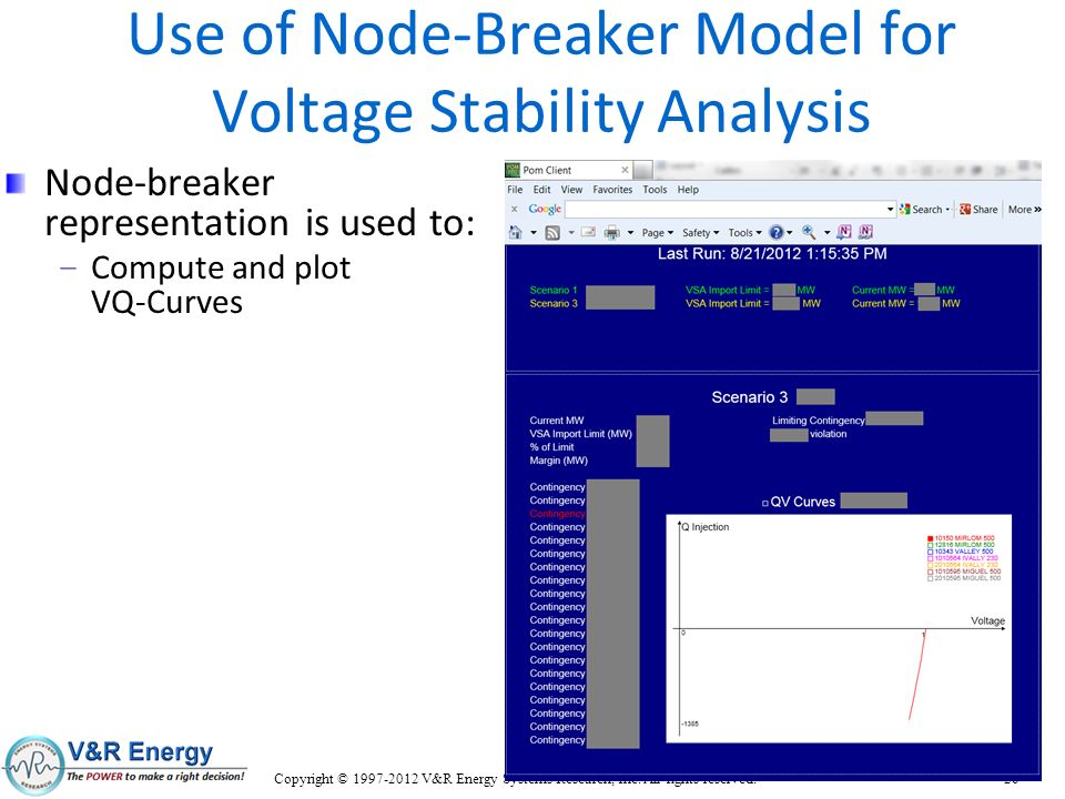 Use of Node-Breaker Model for Voltage Stability Analysis Node-breaker representation is used to: – Compute and plot VQ-Curves Copyright © 1997-2012 V&