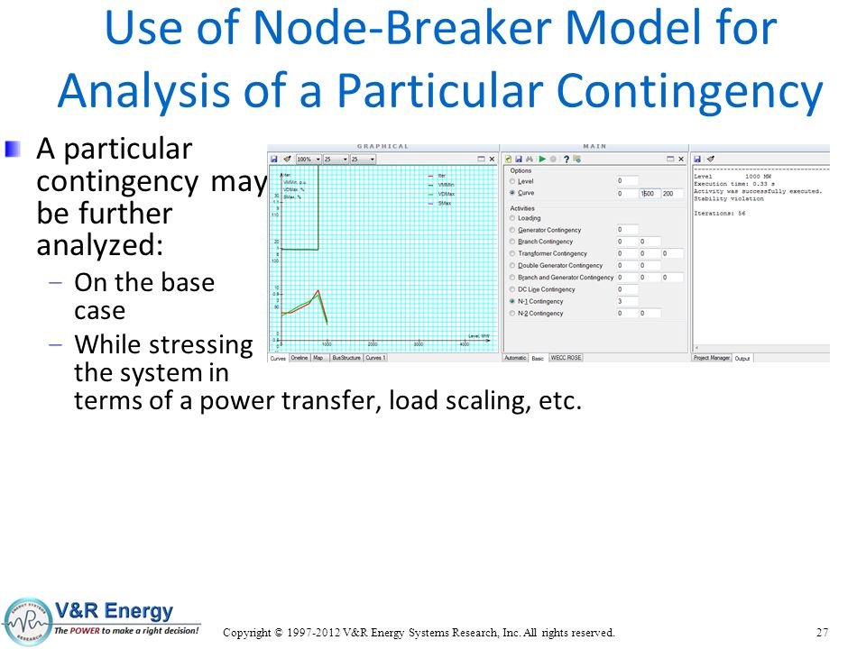 Use of Node-Breaker Model for Analysis of a Particular Contingency A particular contingency may be further analyzed: – On the base case – While stress