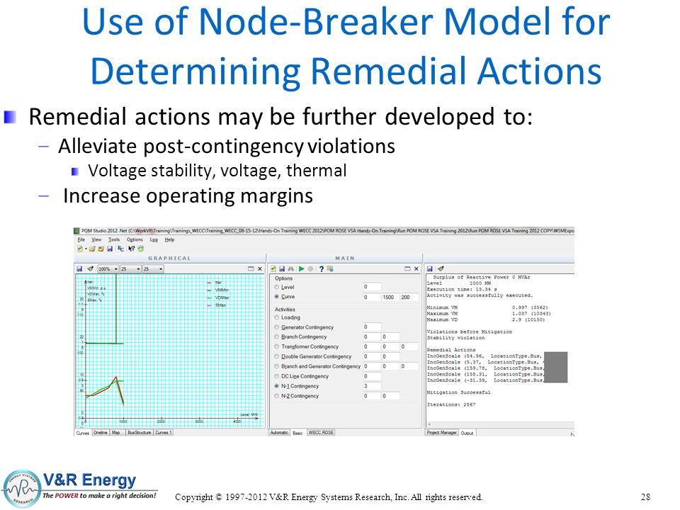 Use of Node-Breaker Model for Determining Remedial Actions Remedial actions may be further developed to: – Alleviate post-contingency violations Volta