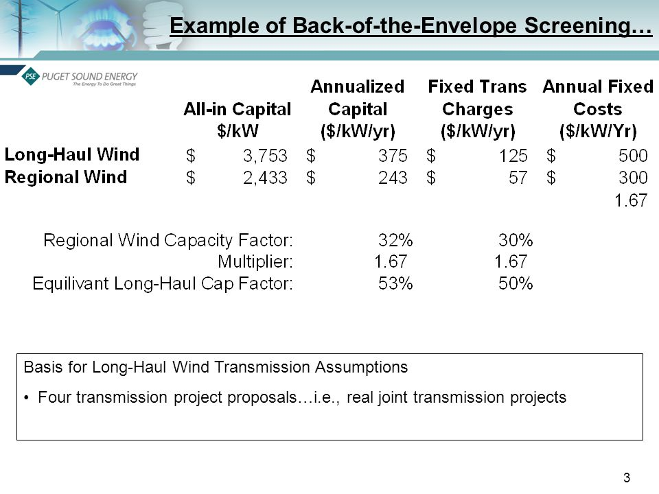 3 Example of Back-of-the-Envelope Screening… Basis for Long-Haul Wind Transmission Assumptions Four transmission project proposals…i.e., real joint transmission projects