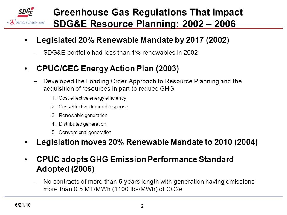 6/21/10 2 Greenhouse Gas Regulations That Impact SDG&E Resource Planning: 2002 – 2006 Legislated 20% Renewable Mandate by 2017 (2002) –SDG&E portfolio had less than 1% renewables in 2002 CPUC/CEC Energy Action Plan (2003) –Developed the Loading Order Approach to Resource Planning and the acquisition of resources in part to reduce GHG 1.Cost-effective energy efficiency 2.Cost-effective demand response 3.Renewable generation 4.Distributed generation 5.Conventional generation Legislation moves 20% Renewable Mandate to 2010 (2004) CPUC adopts GHG Emission Performance Standard Adopted (2006) –No contracts of more than 5 years length with generation having emissions more than 0.5 MT/MWh (1100 lbs/MWh) of CO2e