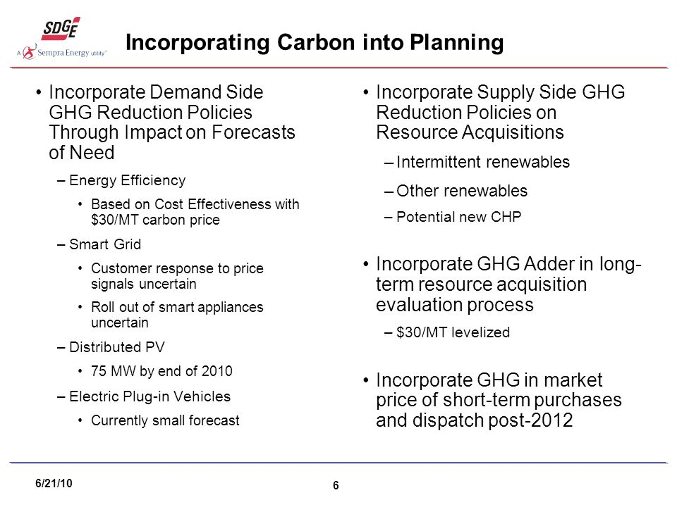 6/21/10 6 Incorporating Carbon into Planning Incorporate Demand Side GHG Reduction Policies Through Impact on Forecasts of Need –Energy Efficiency Based on Cost Effectiveness with $30/MT carbon price –Smart Grid Customer response to price signals uncertain Roll out of smart appliances uncertain –Distributed PV 75 MW by end of 2010 –Electric Plug-in Vehicles Currently small forecast Incorporate Supply Side GHG Reduction Policies on Resource Acquisitions –Intermittent renewables –Other renewables –Potential new CHP Incorporate GHG Adder in long- term resource acquisition evaluation process –$30/MT levelized Incorporate GHG in market price of short-term purchases and dispatch post-2012