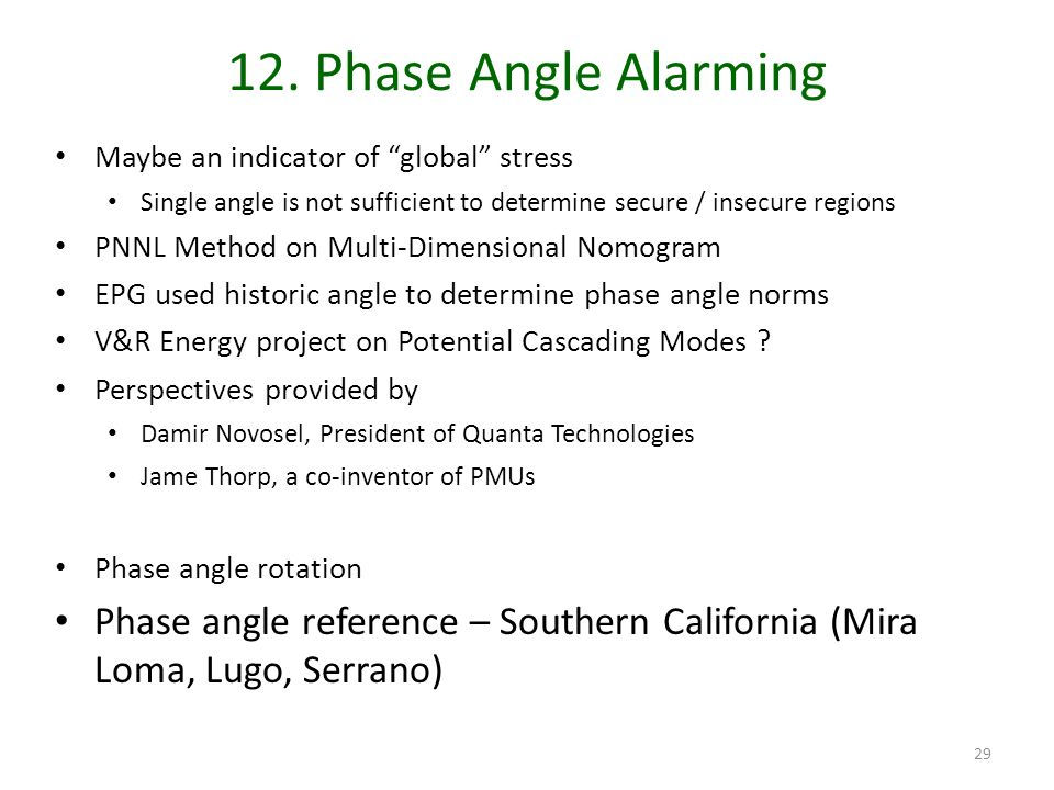12. Phase Angle Alarming Maybe an indicator of global stress Single angle is not sufficient to determine secure / insecure regions PNNL Method on Mult