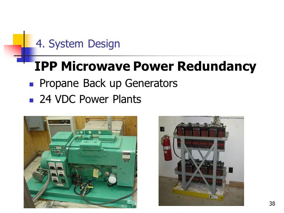 38 4. System Design IPP Microwave Power Redundancy Propane Back up Generators 24 VDC Power Plants