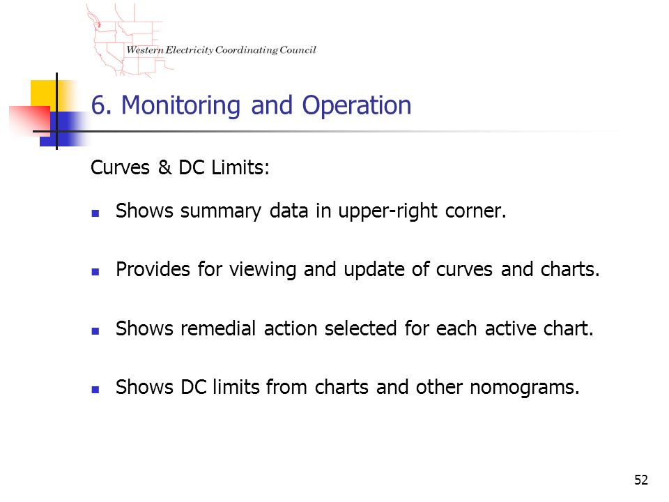 52 6. Monitoring and Operation Curves & DC Limits: Shows summary data in upper-right corner. Provides for viewing and update of curves and charts. Sho