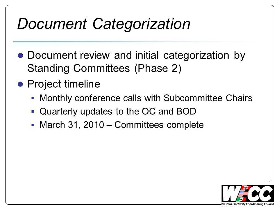 Document Categorization Document review and initial categorization by Standing Committees (Phase 2) Project timeline Monthly conference calls with Subcommittee Chairs Quarterly updates to the OC and BOD March 31, 2010 – Committees complete 11