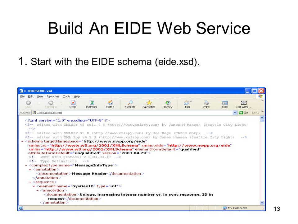 13 1. Start with the EIDE schema (eide.xsd). Build An EIDE Web Service