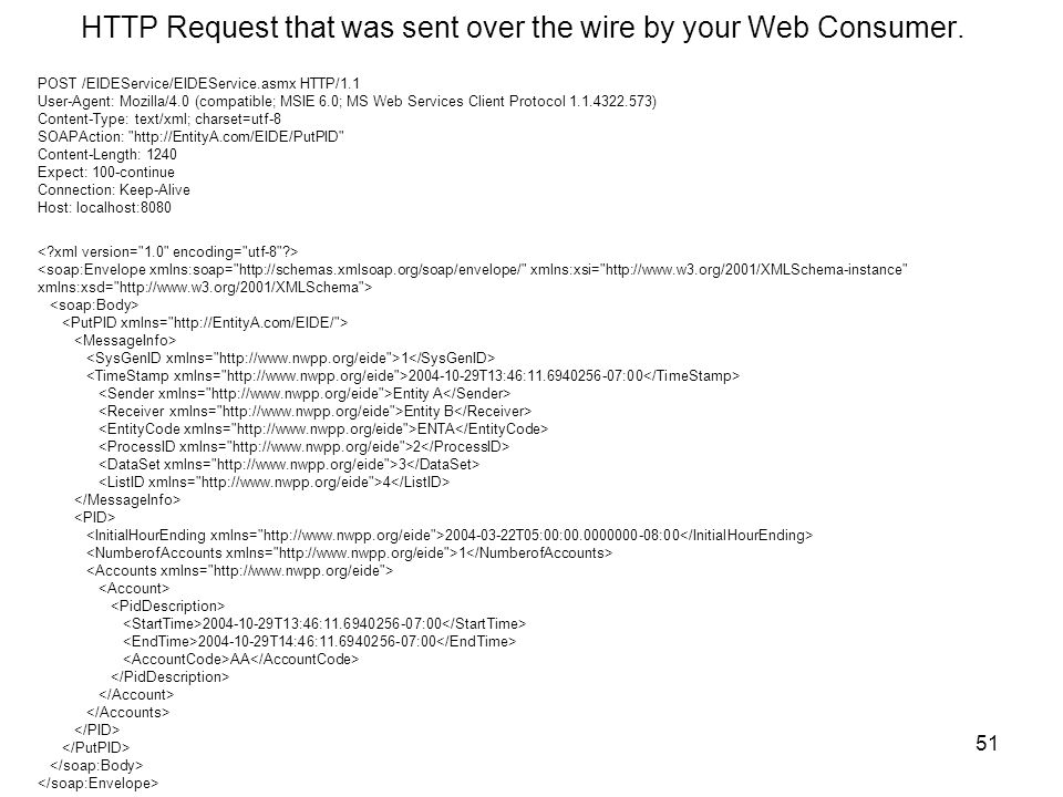 51 HTTP Request that was sent over the wire by your Web Consumer.