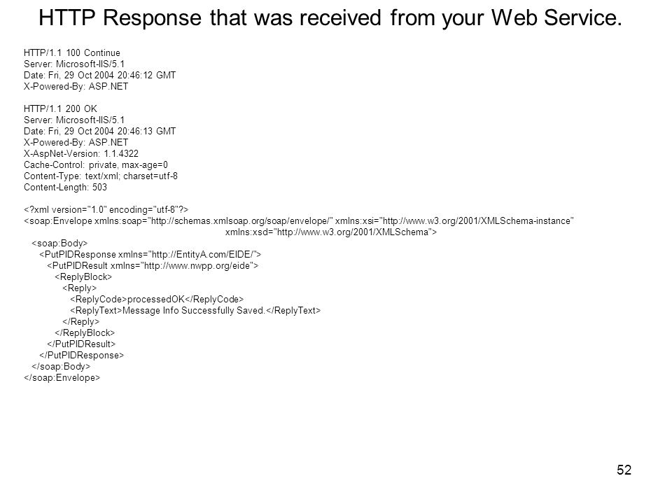 52 HTTP Response that was received from your Web Service.
