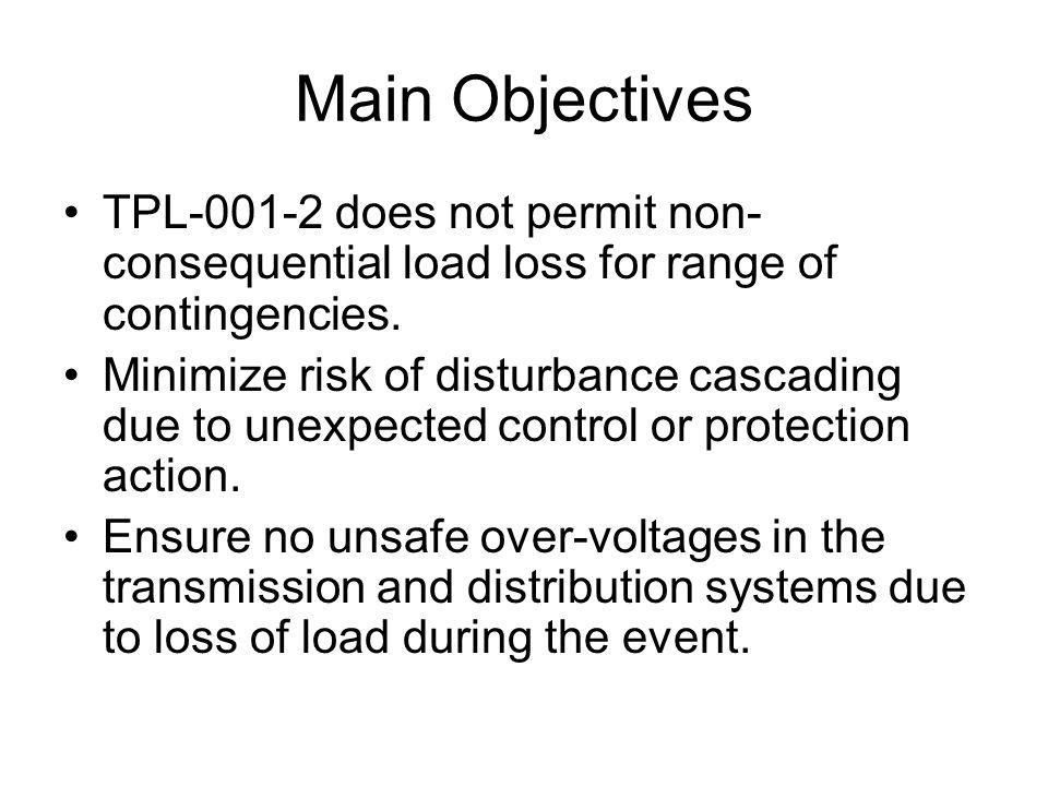 Main Objectives TPL does not permit non- consequential load loss for range of contingencies.