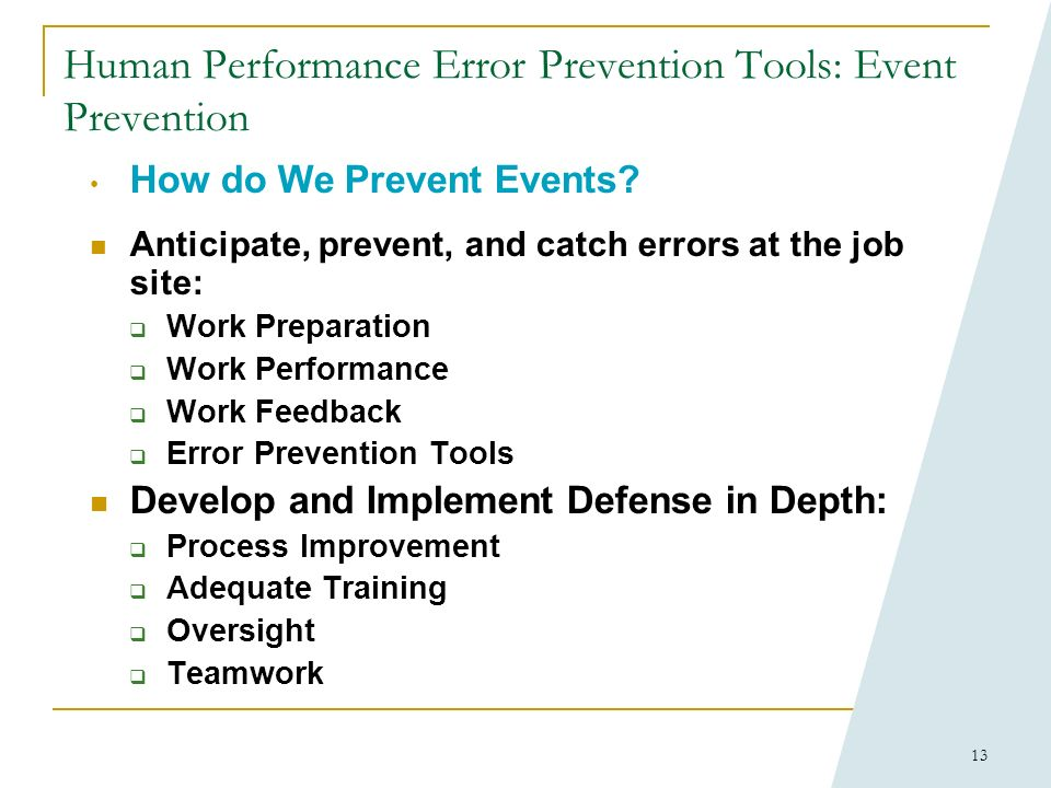 12 Human Performance Error Prevention Tools