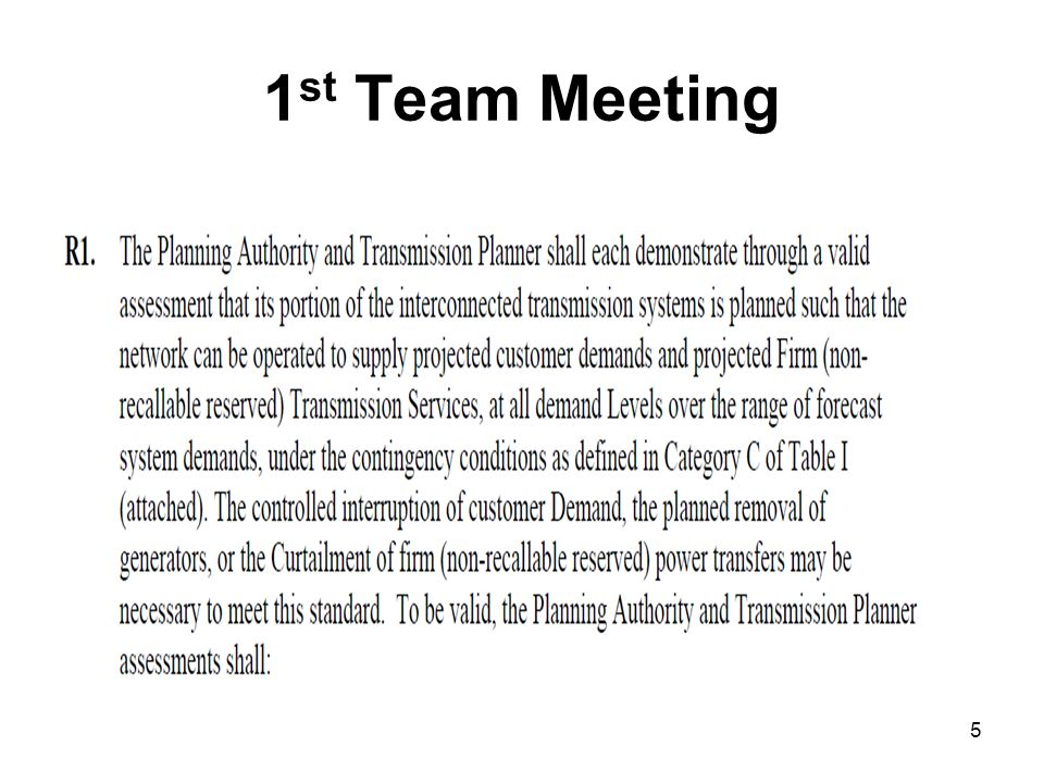 1 st Team Meeting 5
