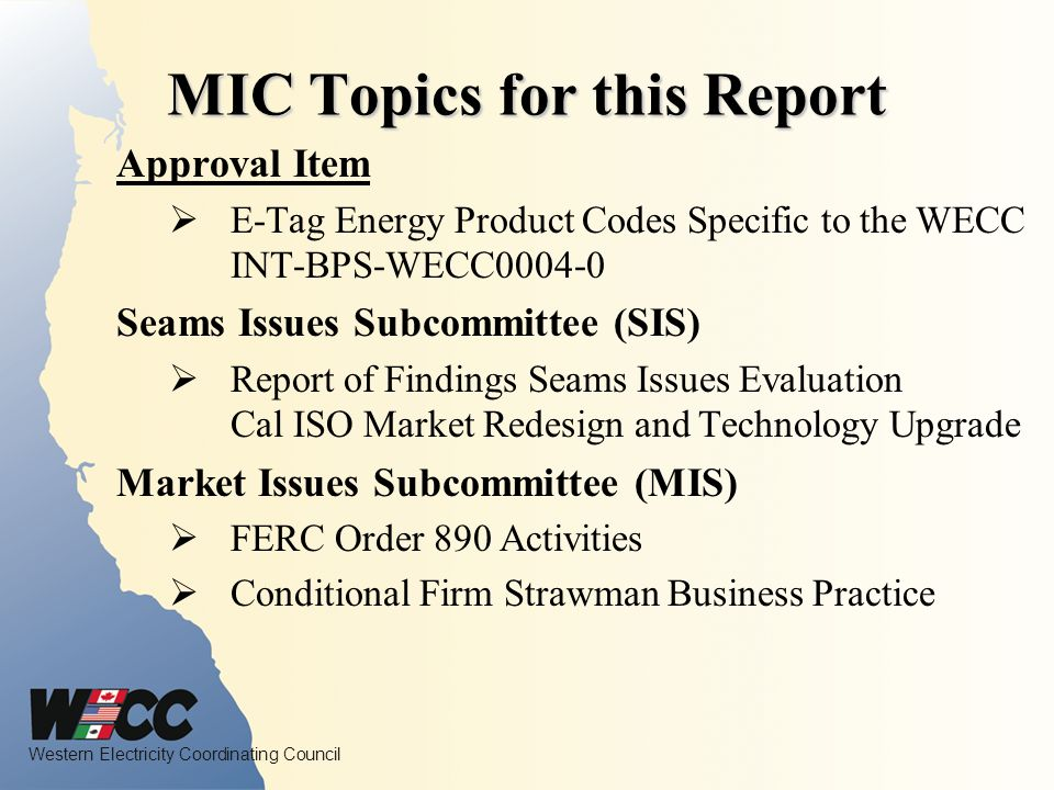 Western Electricity Coordinating Council Market Issues Subcommittee Chair, Phil Tice (DGTM) FERC Order 890 Activities Conditional Firm Strawman Business Practice