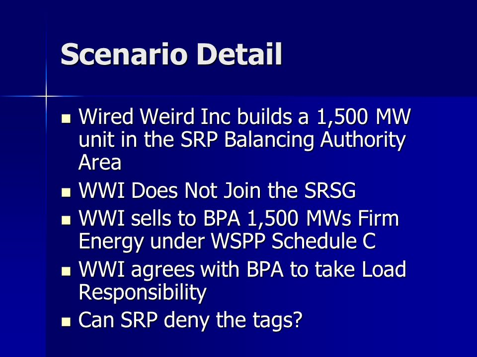 Scenario Detail Wired Weird Inc builds a 1,500 MW unit in the SRP Balancing Authority Area Wired Weird Inc builds a 1,500 MW unit in the SRP Balancing