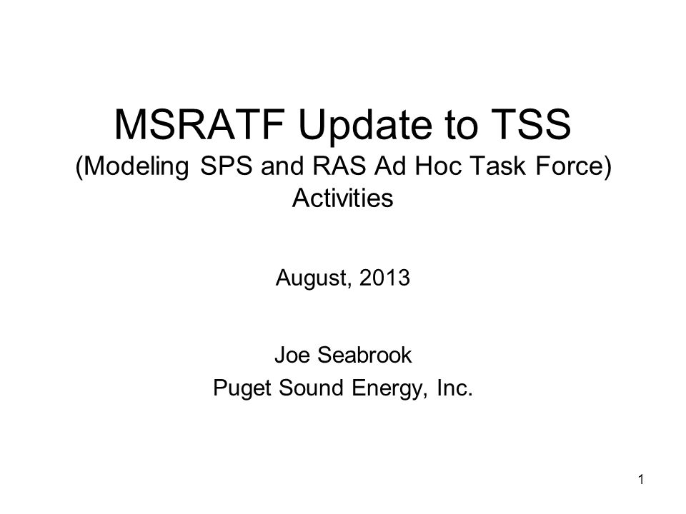 1 MSRATF Update to TSS (Modeling SPS and RAS Ad Hoc Task Force) Activities August, 2013 Joe Seabrook Puget Sound Energy, Inc.