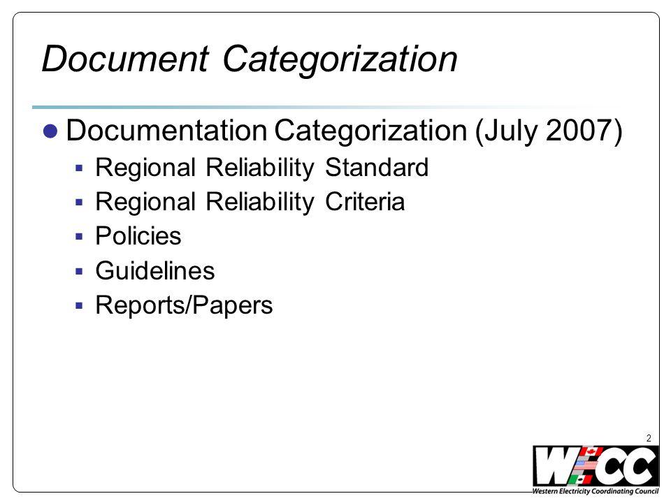 Document Categorization Documentation Categorization (July 2007) Regional Reliability Standard Regional Reliability Criteria Policies Guidelines Reports/Papers 2