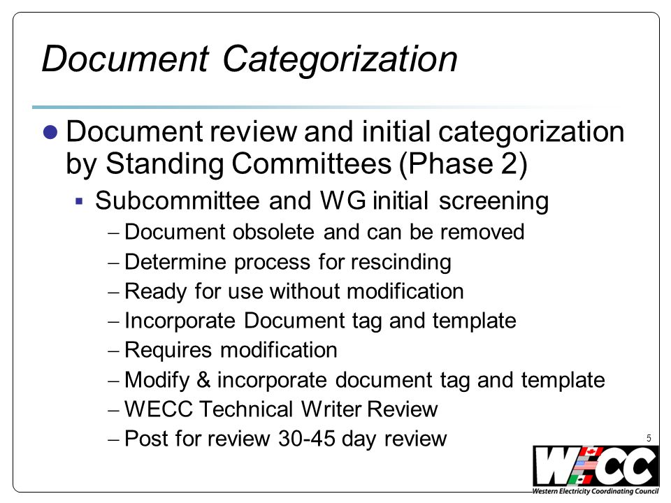 Document Categorization Document review and initial categorization by Standing Committees (Phase 2) Subcommittee and WG initial screening Document obs