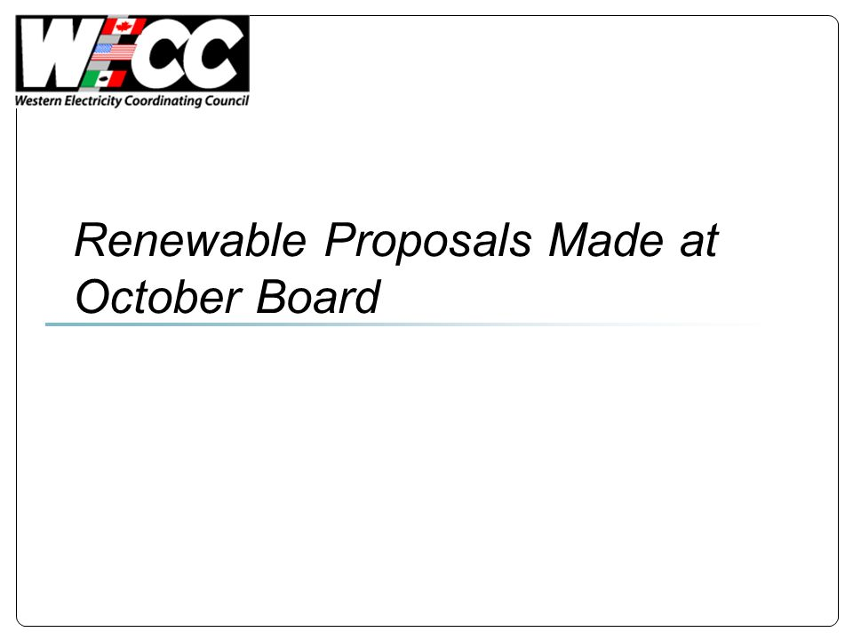 Renewable Proposals Made at October Board